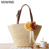 Free Shipping MIWIND Straw Handbags Beach Holiday Weaving Bag High Quality Handmade Bag Women Fashion Shoulder