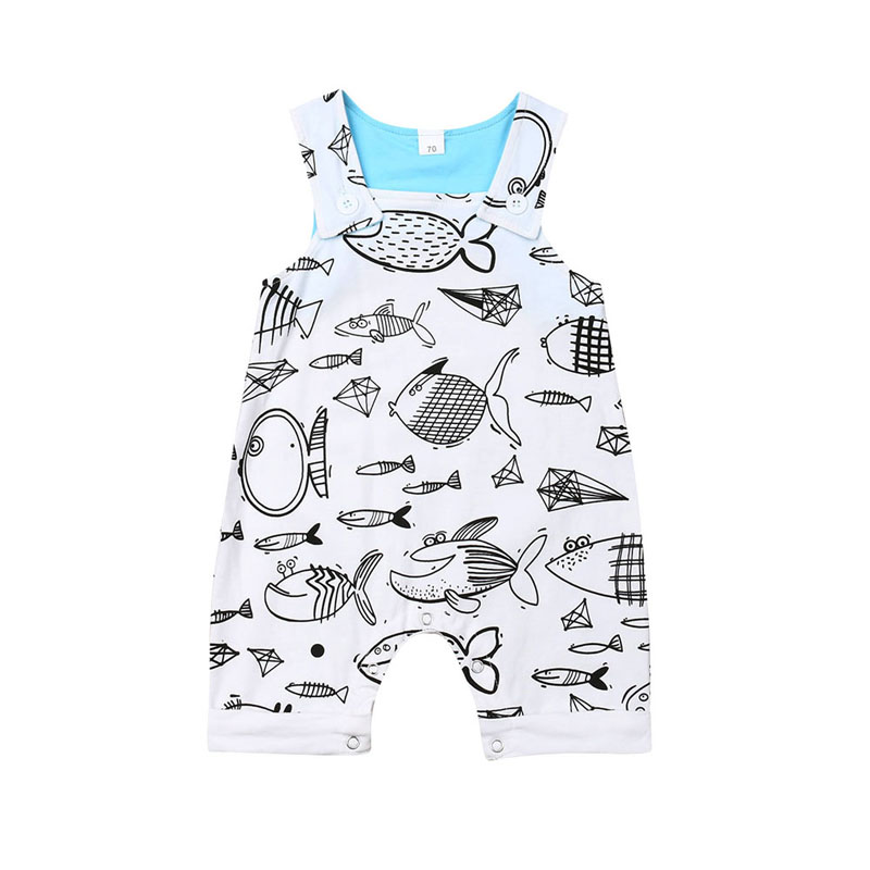 Focusnorm Newborn Infant Baby Boys Girls   Romper   Cartoon Print Fish Sleeveless   Romper   1PC Outfit Clothes