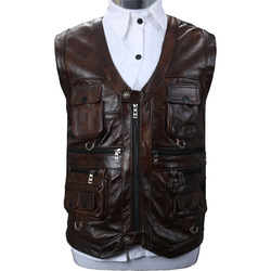 Male leather vest high quality man real leather vest genuine vest 2020 new motor ride vest coat