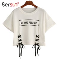 Bersun 2017 New Summer Fashion Women Crop Top No Hard Feelings Letter Print T Shirt White
