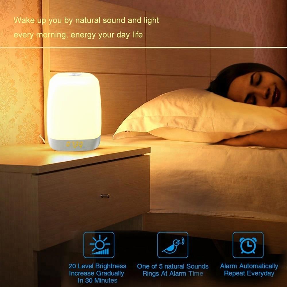 Touch Sensing Digital Alarm Clock Sunrise Sunset LED Wake Up Lights with Colorful Light Snooze Mode Nature Sound недорого