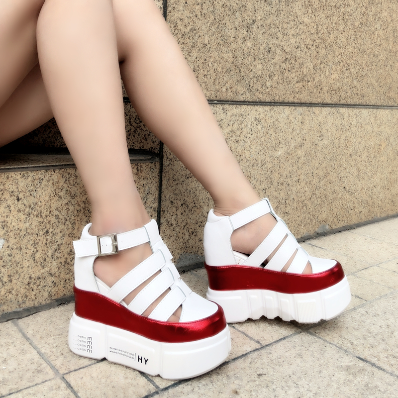 Summer new women's sports sandals Korean version of the thick bottom of the wild women's wedges with muffin bottom casual shoes