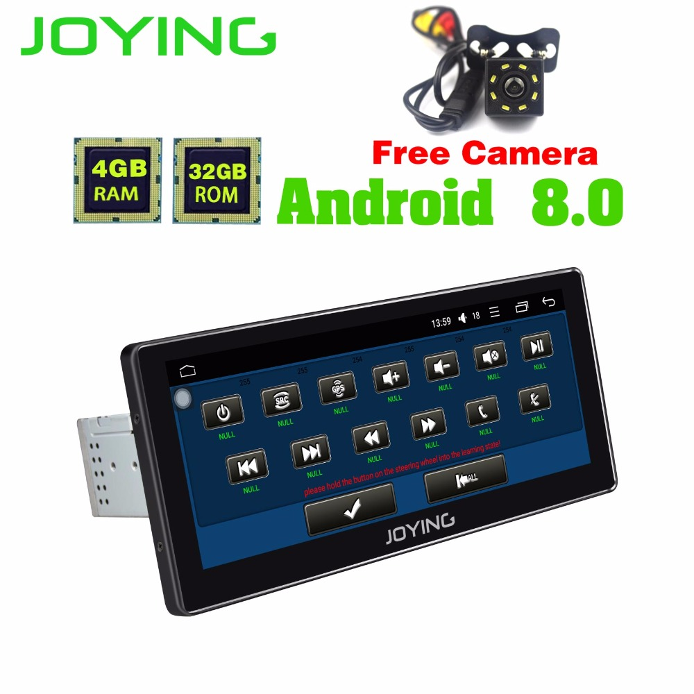 JOYING 10.25INCH 1din car multimedia player android 8 octa core 4gb ram 32gb rom radio stereo with free rear view reverse camera joying 10 inch android 8 0 octa 8 core 4g ram 32g rom car radio player gps navigation bt wifi with free dvr and rear view camera