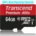 100% Оригинал Transcend 64 ГБ Micro SD TF Class 10 SDXC макс до 60 МБ/с. Высокоскоростные SD Карты Памяти UHS-I Карты смартфонов, Планшетов