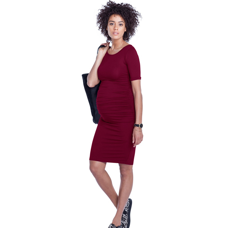 Soft Tencel Clothes for Pregnant Women Casual Maternity Dresses O-Neck Pregnancy Clothing Knee-Length Office Lady Business Dress lish berry clothes for pregnant women pregnancy skirt maternity korean style pregnant lady clothes women maternity skirt kr1272