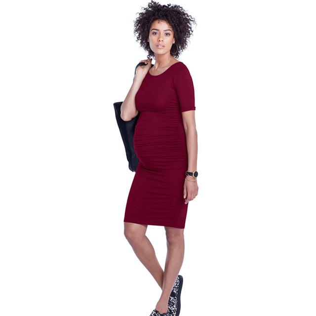 Tencel macio roupas gravidez roupas para mulheres grávidas maternidade vestidos casuais o-pescoço na altura do joelho-comprimento lady business office dress