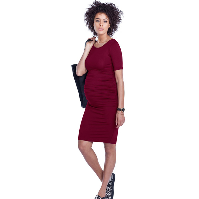 e14a50ed7 Tencel suave ropa para mujeres embarazadas casual vestidos de maternidad  o-cuello de la ropa