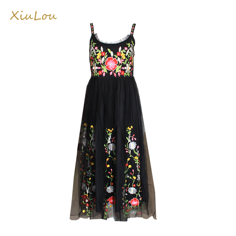 Hot sell high quality 2017 summer women dress long black embroidered dress mesh sexy vintage floral