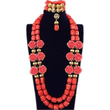 Dudo Bridal Jewelry Sets Coral Beads Flower Wedding Necklace Set African nigerian Beads Trukish Ladies Jewellery Set Indian 2018(China)