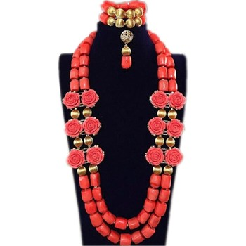 Dudo Bridal Jewelry Sets Coral Beads Flower Wedding Necklace Set African nigerian Beads Trukish Ladies Jewellery Set Indian 2018