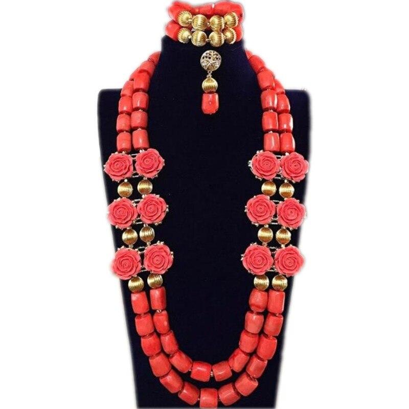Dudo ensembles de bijoux de mariée perles de corail fleur collier de mariage ensemble africain nigérian perles Trukish dames bijoux ensemble indien 2018