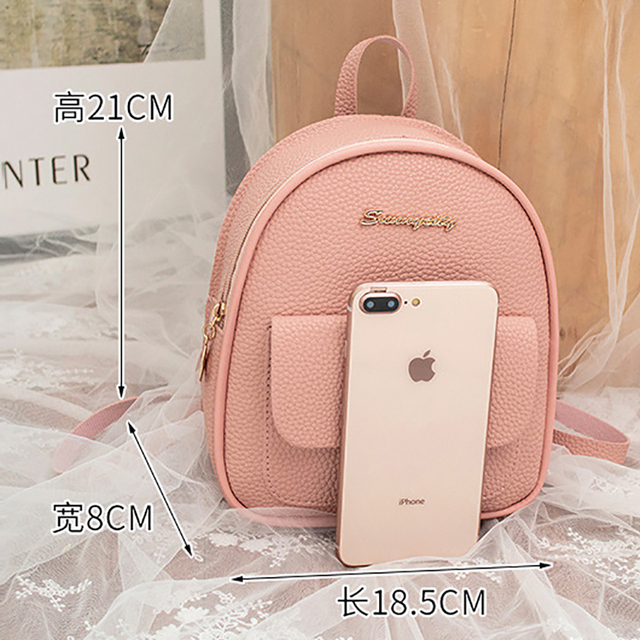 Mini Backpack Women PU Leather Shoulder Bag For Teenage Girls Kids Multi-Function Small Bagpack Female Ladies School Backpack 5