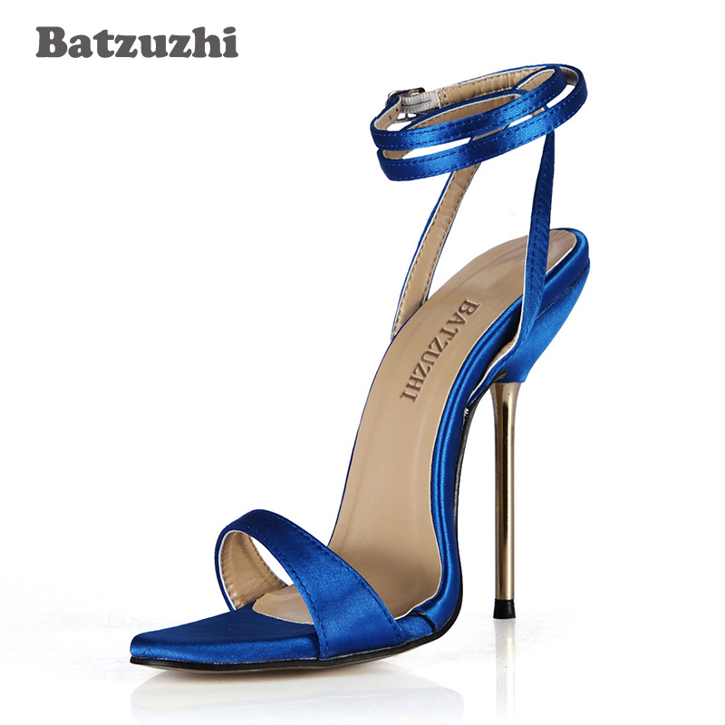где купить Batzuzhi 5 Colors Blue Women Sandals Open Toe Ankle Strap Sexy Women High Heels Sandal Open Toe 12.4cm Iron Heels Sandalias дешево