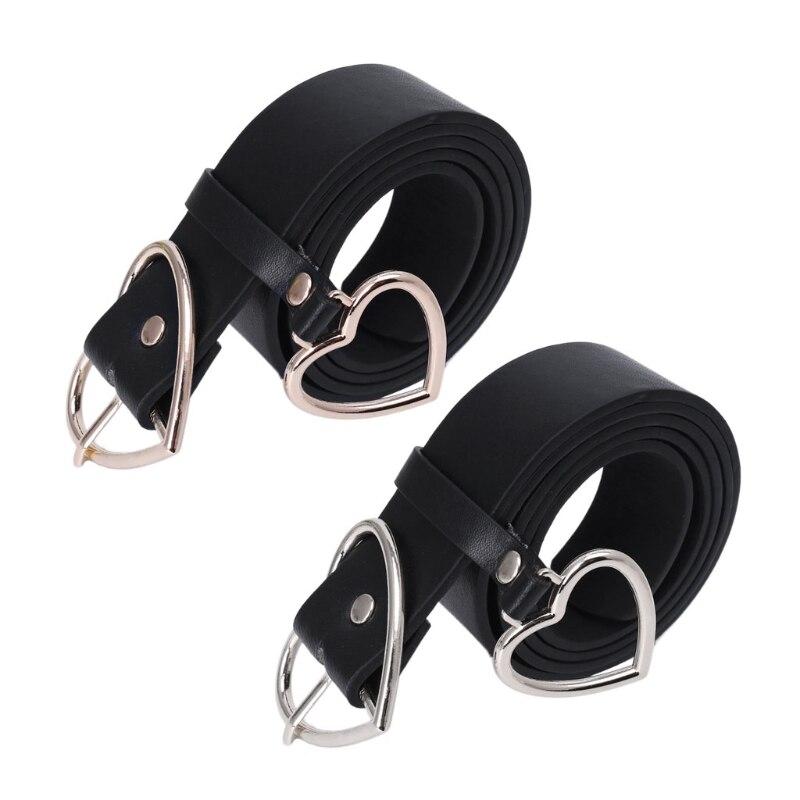 105CM Black PU Leather   Belt   for Women Metal Heart Corset Wedding Party Dress Harajuku   Belt