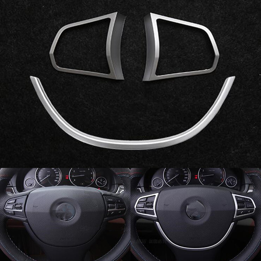 Fit For BMW F10 5 series 525i 520i Car 2Pcs Left and Right Steering Wheel Button Cover Trim+1Pc U Type Car Styling Sticker ABS 2pcs left