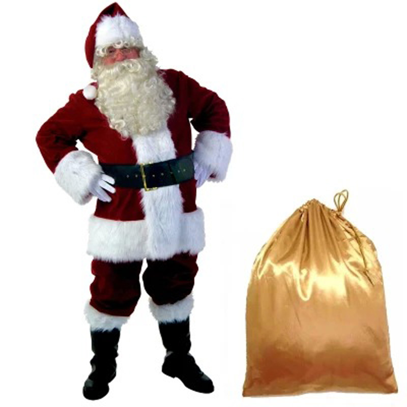 A Full Set Of Christmas Costumes Santa Claus For Adults Blue Red Christmas Clothes Santa Claus Costume Halloween Luxury Suit hooded santa claus costume