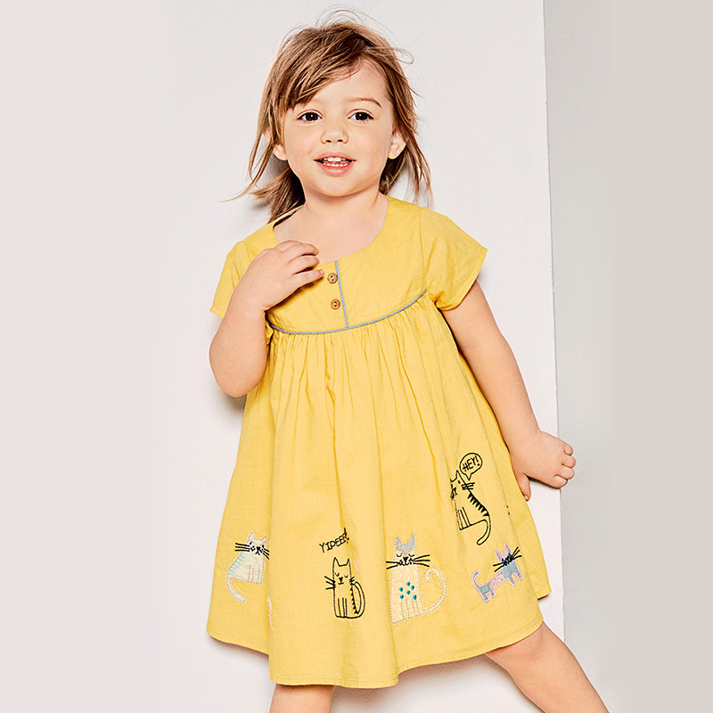 New European and American Style Childrens  Knitted Cotton Short Sleeve Girls Dress Cartoon dress