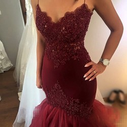 Heavy beading burgundy mermaid prom dresses sexy sheer spaghetti straps corset ruffles skirt sweep train evening.jpg 250x250