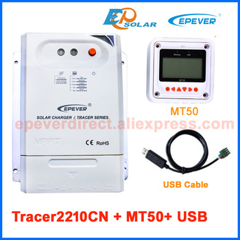 Tracer2210CN 20A MPPT High efficiency Solar regulator 12V 24V auto work EPEVER USB cable connect PC use and MT50 remote Meter