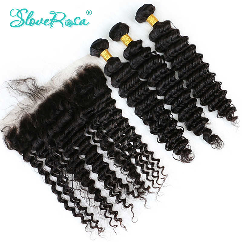 Deep Wave Human Hair Bundles With Closure Frontal Free Part 100% Remy Human Hair 3 Bundles With Lace Frontal Slove Rosa Product