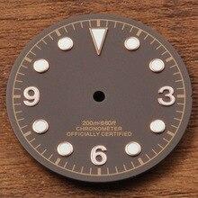 Corgeut 30,5mm café esfera del reloj fit Miyota 8205/8215 DG2813/3804 movimiento Bahía Negra