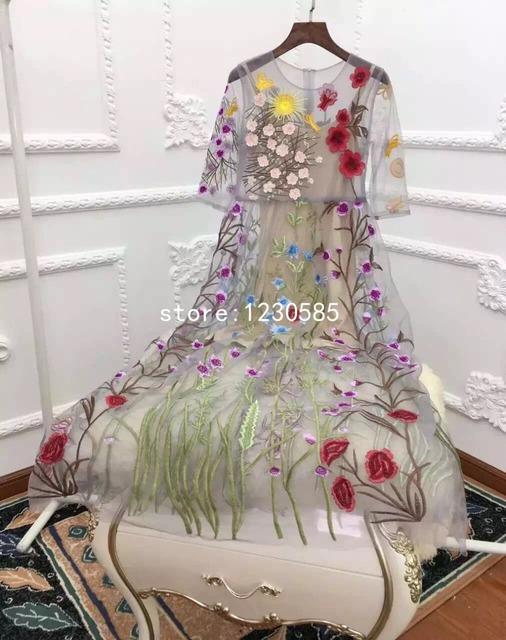 Sheer Сетки Вышивка Длинные Женщины Dress Sexy Vestidos De Festa Чешский Пляж Макси Платья Летние Платья 2016 61046