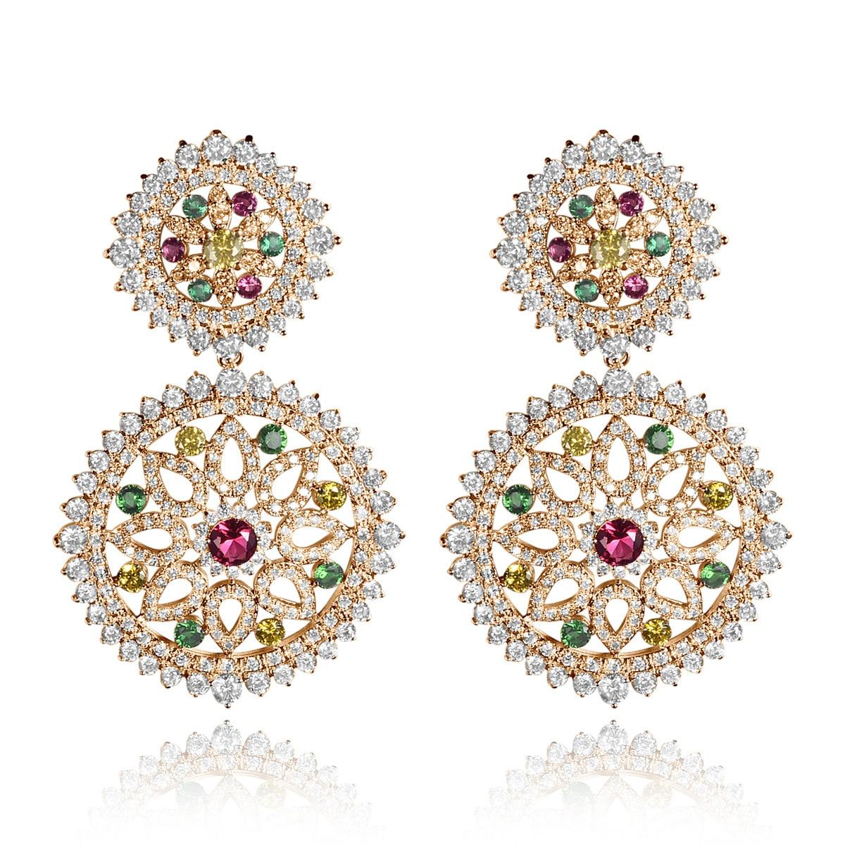 Double Round Cubic Zircon Inlay Multicolor CZ Stone Big Stud Wedding Earrings Fashion Women Party Jewelry