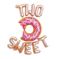1 Juego de globos de aluminio con forma de letras, 16 pulgadas, oro rosa, dos dulces globos de Donut para Baby Shower, decoración de fiesta de 2 ° cumpleaños, proveedor de fiesta