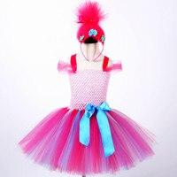 Trolls Burbujas De Partido A Favor Del Tutú Para Las Muchachas Niños Troll Trajes de Carácter Cosplay Vestidos de Cumpleaños Diadema Con Hairband