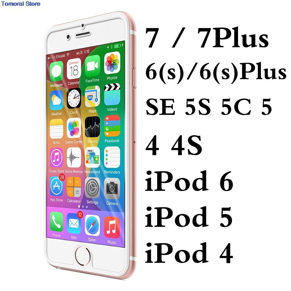 imágenes para 50/lot para iphone 7 plus 6 6 s sí 5S 5c 5 4 4S ipod touch apple ultra delgado de 0.33mm de vidrio templado film protector de pantalla sin burbujas