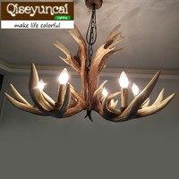 Qiseyuncai וילה מדינה אמריקנית, 6 ראש קרני נברשת רטרו יצירתי סלון מסעדת חדר שינה תאורת שרף