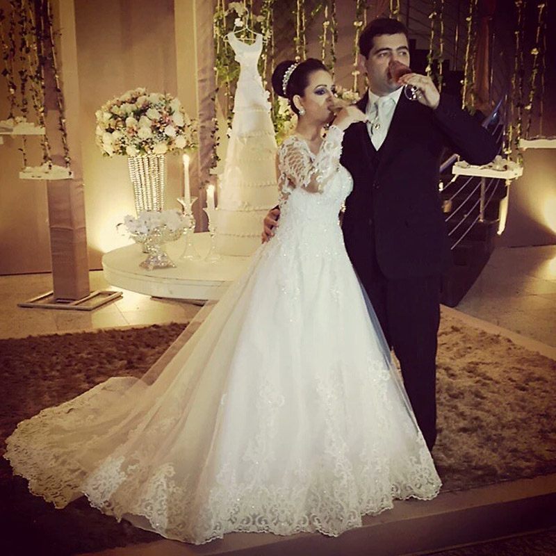 Plus size full long sleeve muslim wedding dresses arabia for Lace wedding dress with pearls
