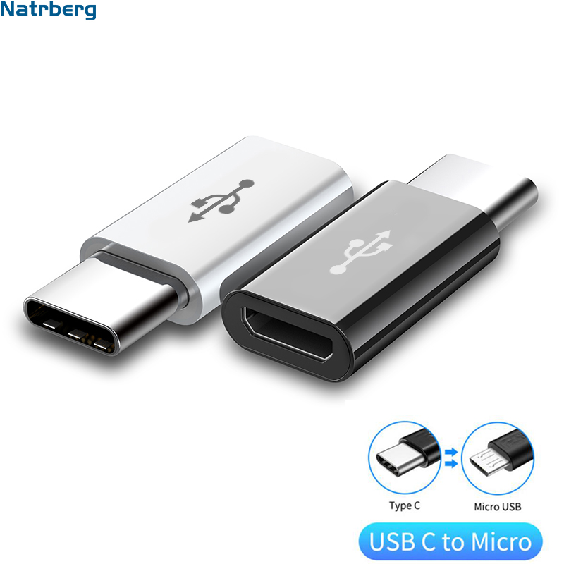 Natrberg  Adapter Type C To Micro USB Adapter USB C To Micro USB OTG Cable Type-C Female Converter For Samsung Xiaomi MAC Honor