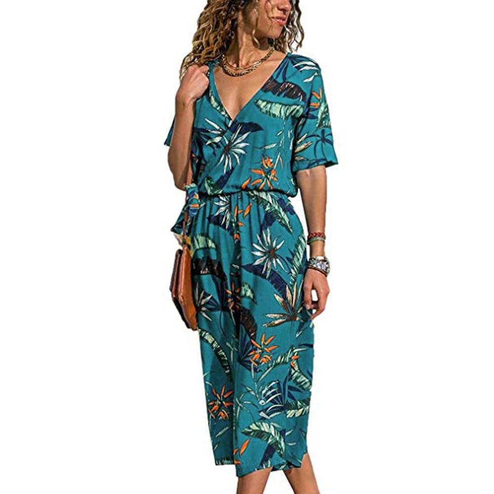 2020 Fashion Women streetwear Jumpsuit Summer Casual Wide Leg Pant V-neck Short Sleeve Boho Romper OL Playsuit High Bodysuit FDH