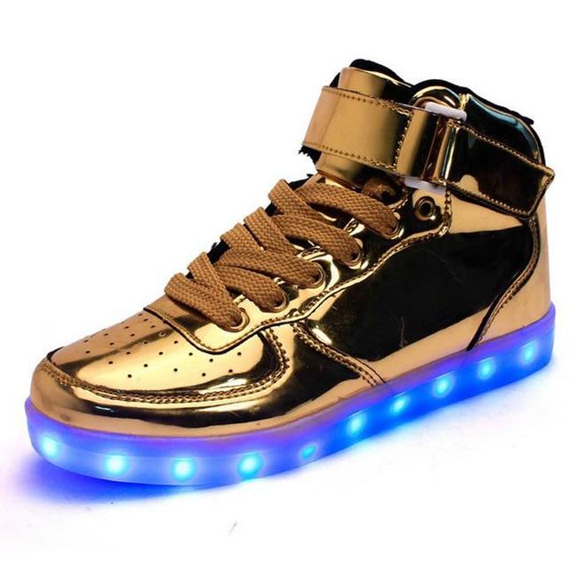 Ramialali Marca de Luz Led Para Arriba Los Zapatos de Oro del Top del Alto de Los Hombres Zapatos Luces Dorado de Moda Led de Carga Usb Unisex Zapatos Casuales Chaussure