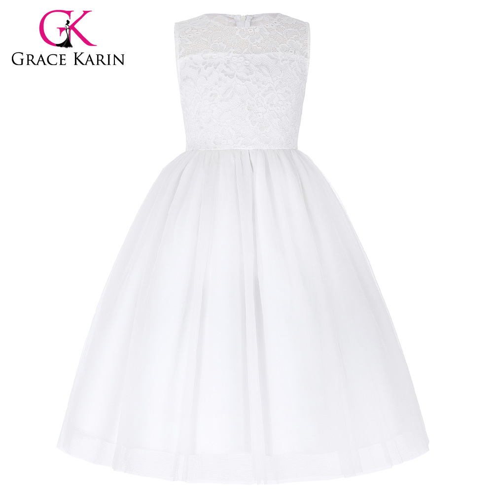 Kids White Flower Girl Dresses For Wedding Party Baby Pageant