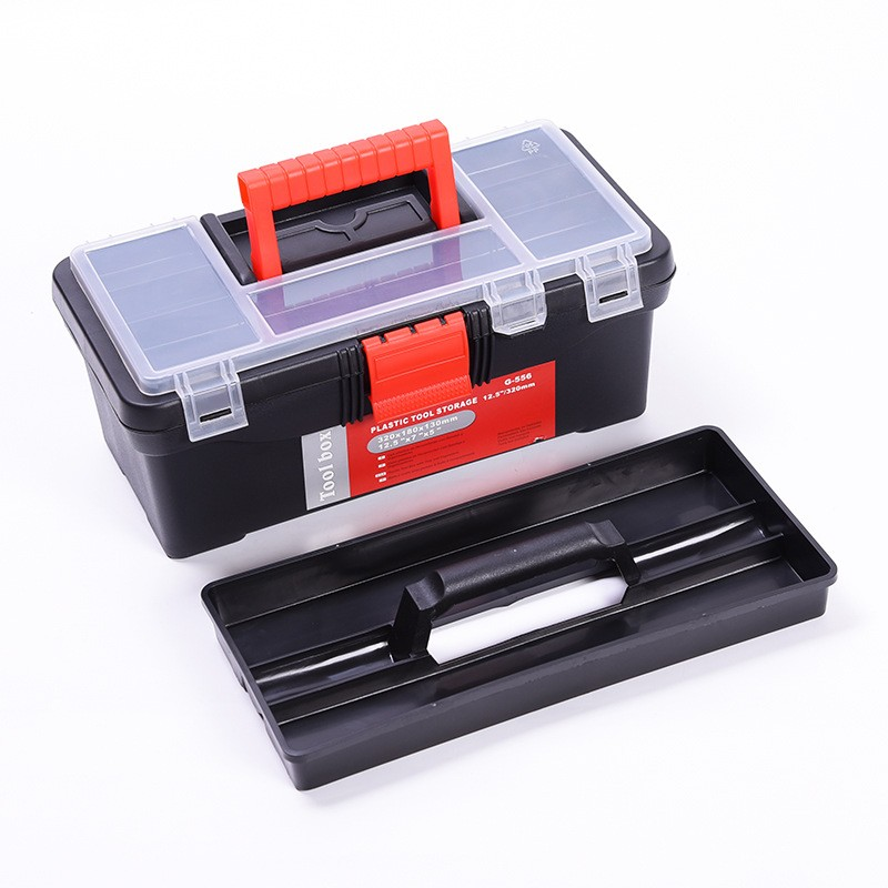 32x18x13cm Home Hardware Toolbox Tool Components Plastic Double Layer Storage Box Auto Repair Electrician Box Suitcase 12.5 Inch