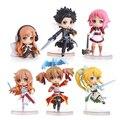 6 unids/lote Anime Espada de Arte En Línea Figura 6 cm Danza de Hadas SAO Kirito Asuna Lefa PVC Figuras de Acción Juguetes de Colección modelo de Juguete