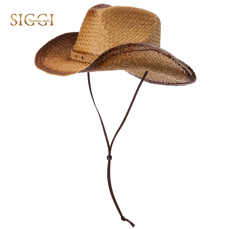 SIGGI Western Style Straw Cowboy Hats Men Faux Leather Band Elasticized  Shapeable Brim Chin Cord Strap Casquette Male 89014-in Cowboy Hats from  Apparel ... 236d7277c4b