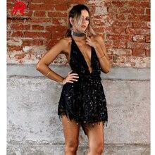 Sexy Women Mini Sequins Summer Dress 2018 Hot V Neck Backless Black Gold Halter Party Clubwear Beach Bandage Dresses Vestidos HL