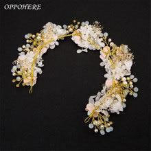 Handmade Luxury Prom Wedding Hair Jewelry Bridal Flower Headdress Pearl Hairband