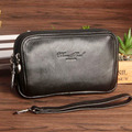 Genuine Leather Men Hook Waist Bag Fanny Pack Double Zipper Cell/Mobile Phone Case Real Cowhide Hip Belt Purse Clutch Bags New
