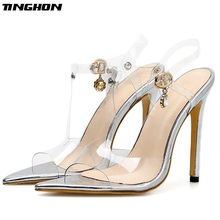 TINGHON Summer Novelty Women PVC Sandals Transparent Thin High Heels Gladiator Buckle Solid Shallow Ankle Strap Wedding Shoes