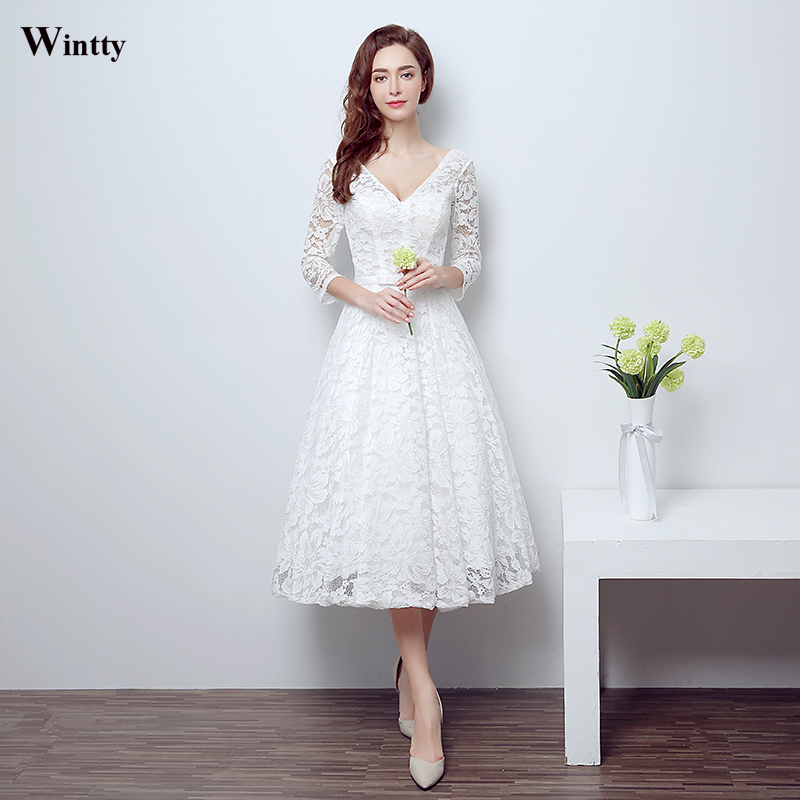 Buy wintty high quality ivory white for Black tea length wedding dress
