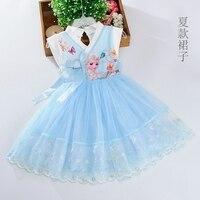 Disney Kız elbise dondurulmuş Elsa elbise + pelerin kostüm prenses vestido çocuklar elbiseler karikatür güzel SEVIMLI yaz cosplay parti elbise