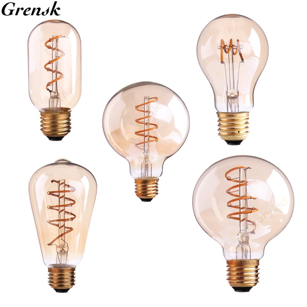 T45 A19 st64 G80 g95 g125, espiral bombilla del filamento del LED, 3 W 2200 K, retro Vintage Lámparas, decorativo Iluminación, regulable