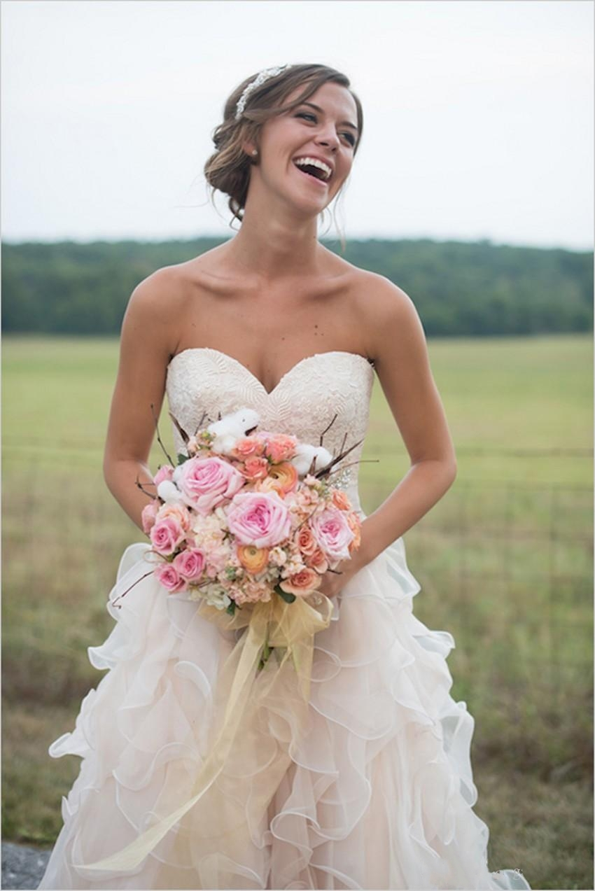 Blush Pink Country Wedding Dresses with Ruffles Sweetheart Neckline ...