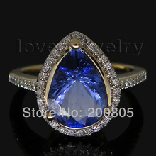 Beauty Lady Rings Jewelry Vintage Pear 7x9mm 14Kt Yellow Gold Natural Diamond Blue Tanzanite Ring SR0010