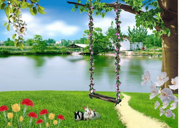 Wholesale and retail 2014 Custom large mural wallpaper HD wallpapers green park scenery Personalized murals Free