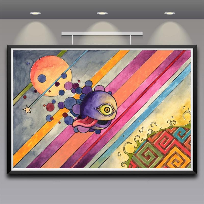 Cadre 16 X 24 ᓂillustration rayures langues yeux coloré art silk affiche décor À